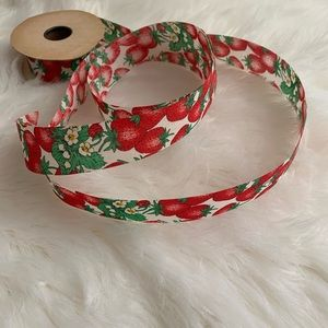 Country Strawberry Print Fabric Ribbon Vintage
